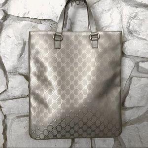 Gucci Silver Metallic Tote bag